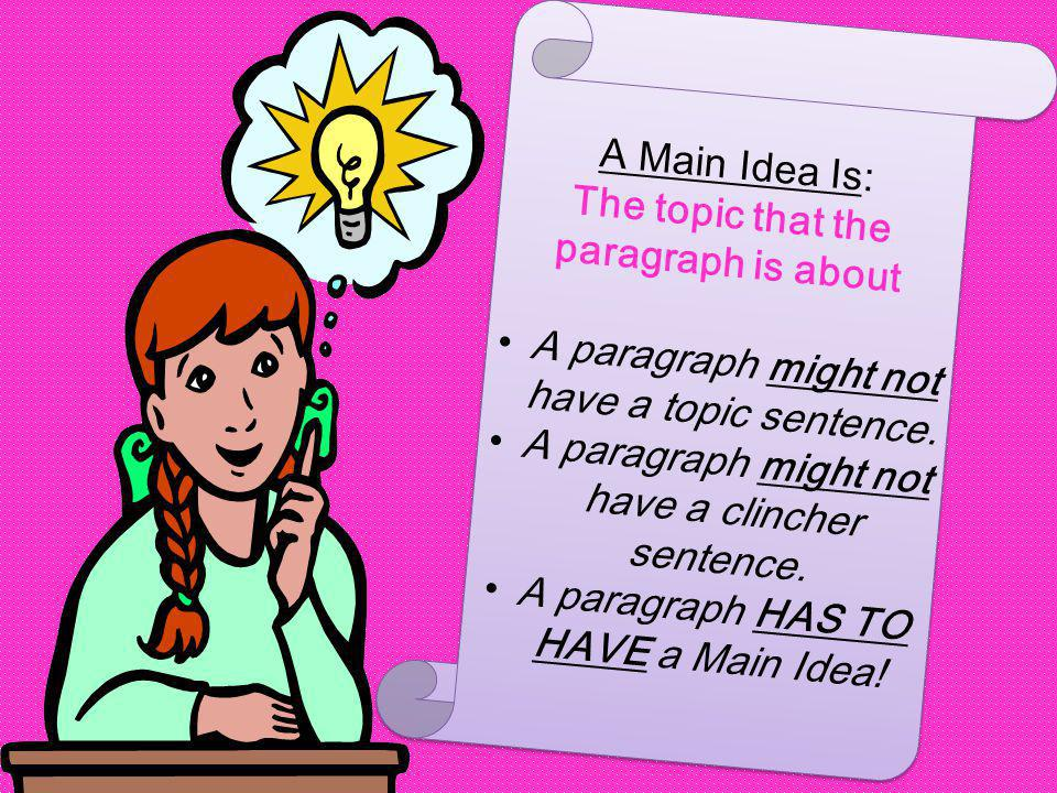 A Main Idea Is: The topic that the paragraph is about A paragraph might not have a topic sentence.