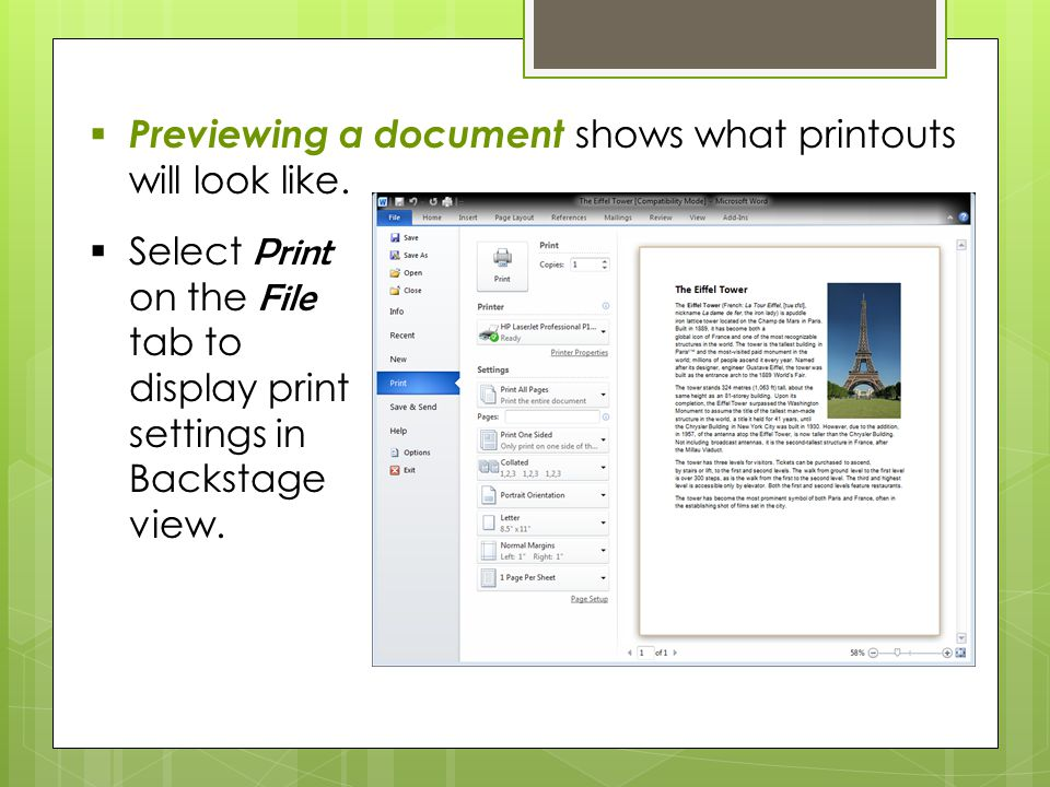  Previewing a document shows what printouts will look like.