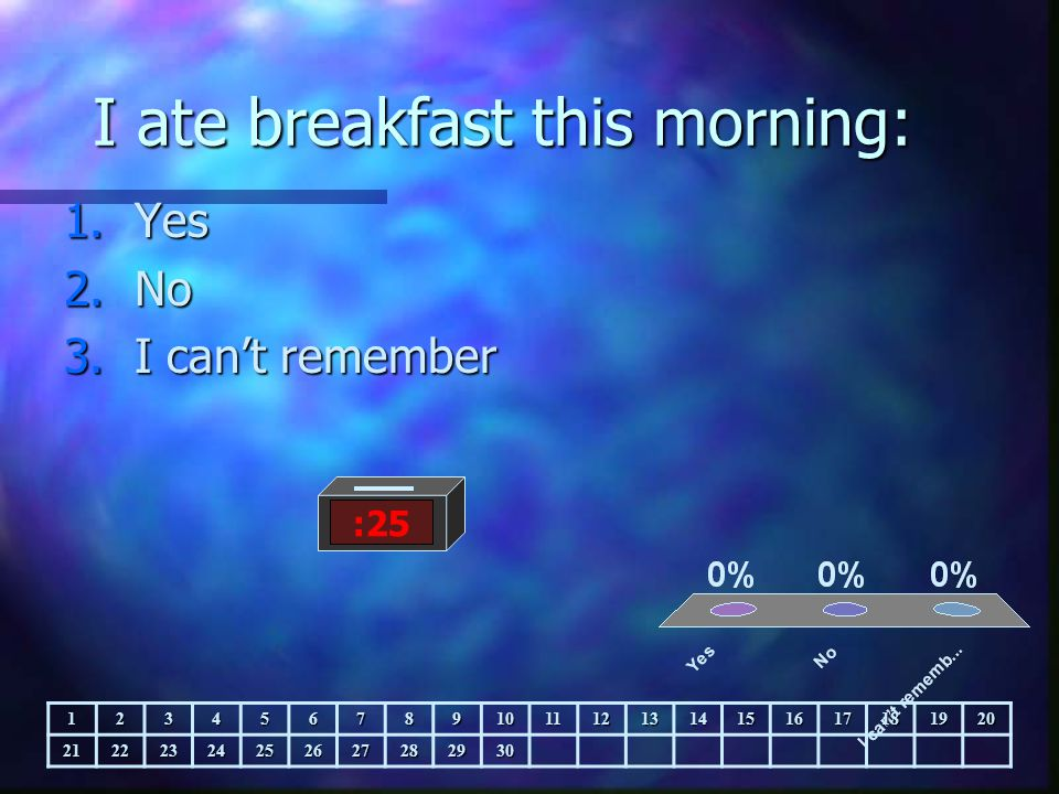 I ate breakfast this morning: 1.Yes 2.No 3.I can't remember :25 123456789101112131415161718192021222324252627282930