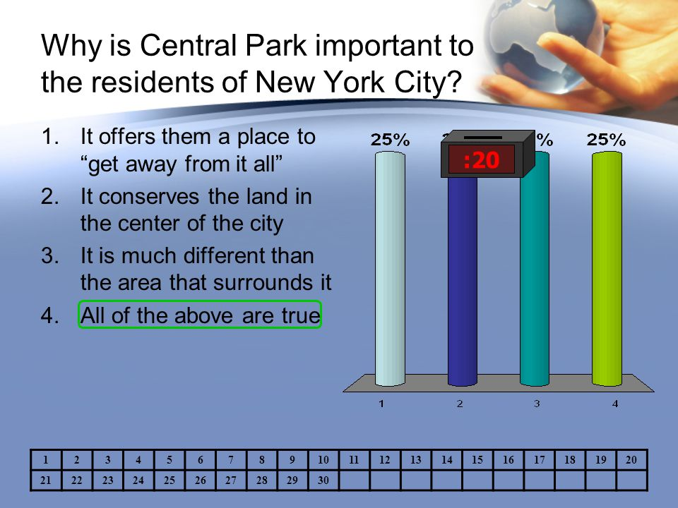 """Why is Central Park important to the residents of New York City? :20 1.It offers them a place to """"get away from it all"""" 2.It conserves the land in the"""