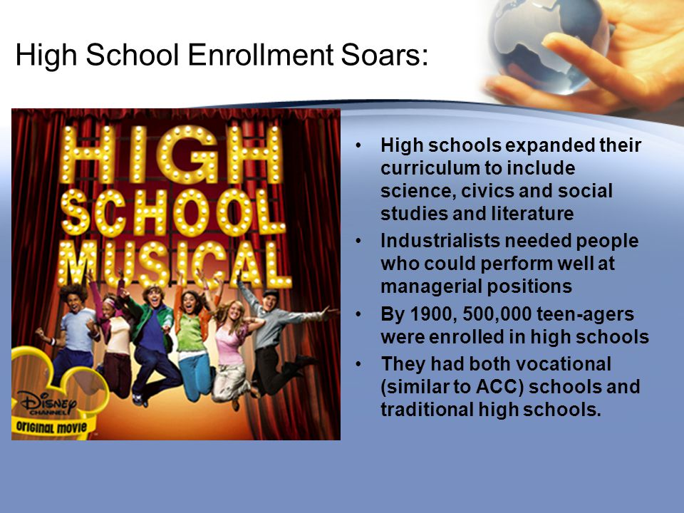 High School Enrollment Soars: High schools expanded their curriculum to include science, civics and social studies and literature Industrialists neede
