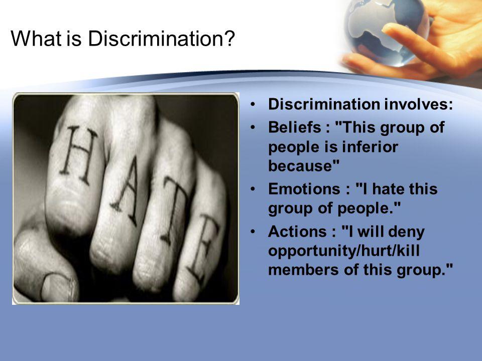 What is Discrimination? Discrimination involves: Beliefs :