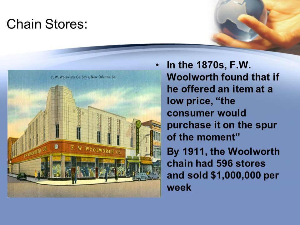 """Chain Stores: In the 1870s, F.W. Woolworth found that if he offered an item at a low price, """"the consumer would purchase it on the spur of the moment"""""""