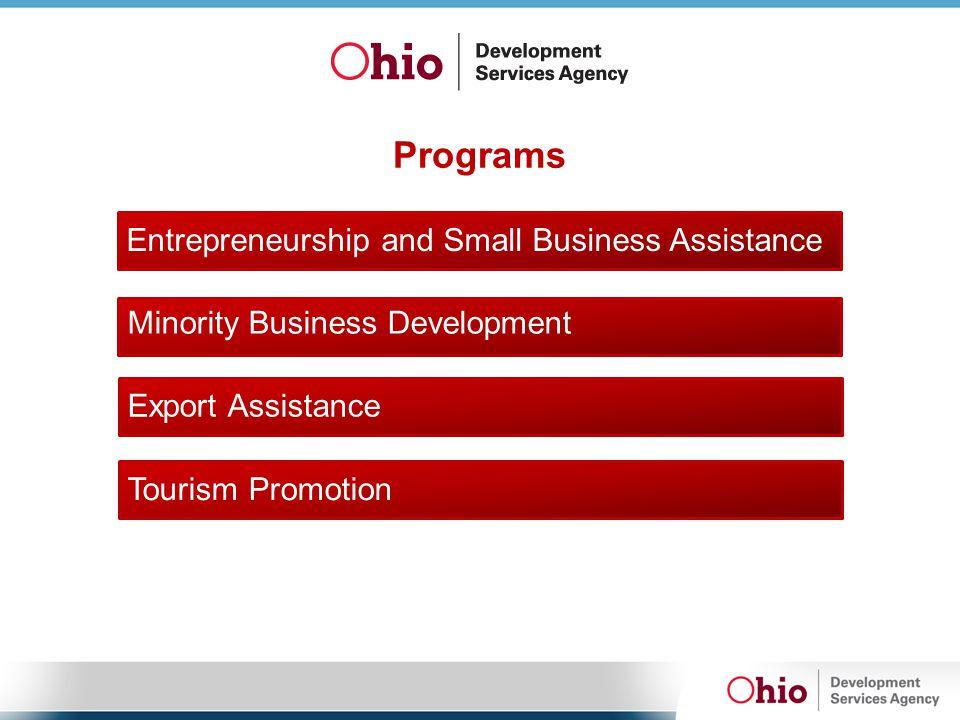 Programs Entrepreneurship and Small Business Assistance Minority Business Development Export Assistance Tourism Promotion