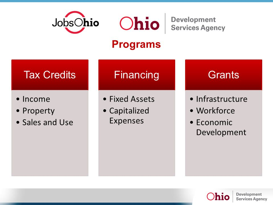 Programs Tax Credits Income Property Sales and Use Financing Fixed Assets Capitalized Expenses Grants Infrastructure Workforce Economic Development