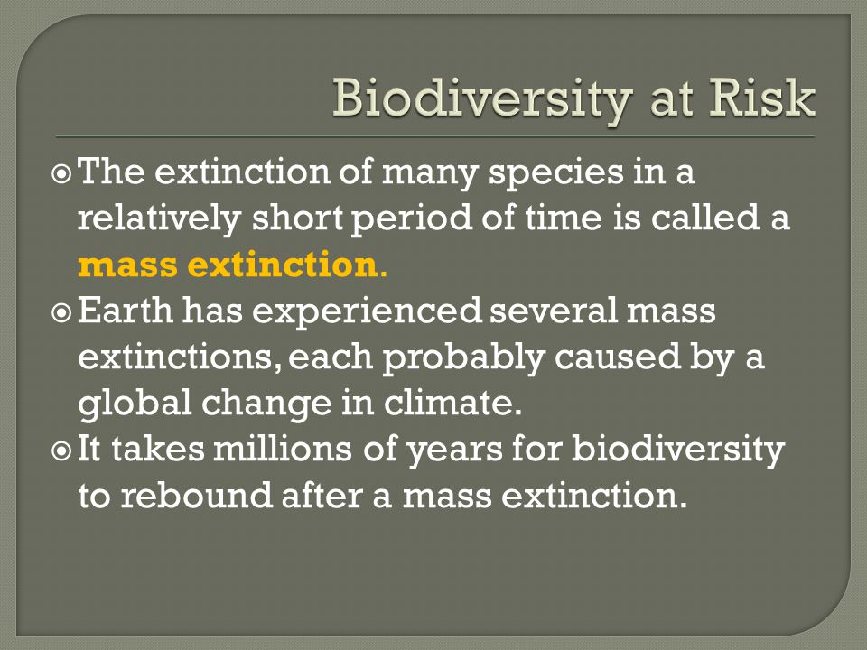  The extinction of many species in a relatively short period of time is called a mass extinction.  Earth has experienced several mass extinctions, e