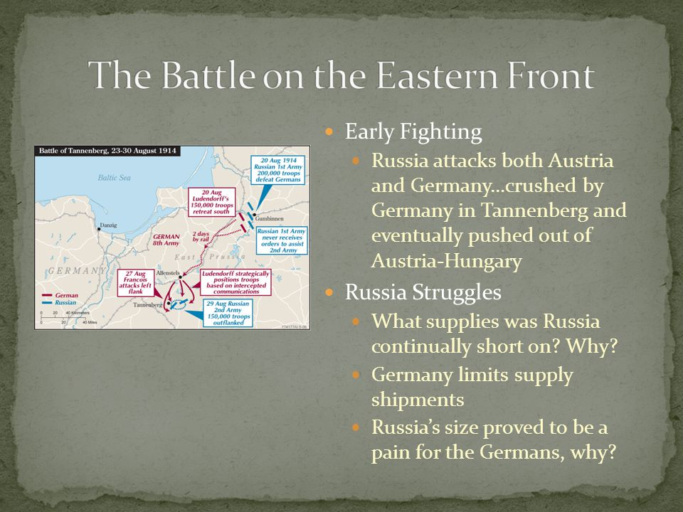 Early Fighting Russia attacks both Austria and Germany…crushed by Germany in Tannenberg and eventually pushed out of Austria-Hungary Russia Struggles