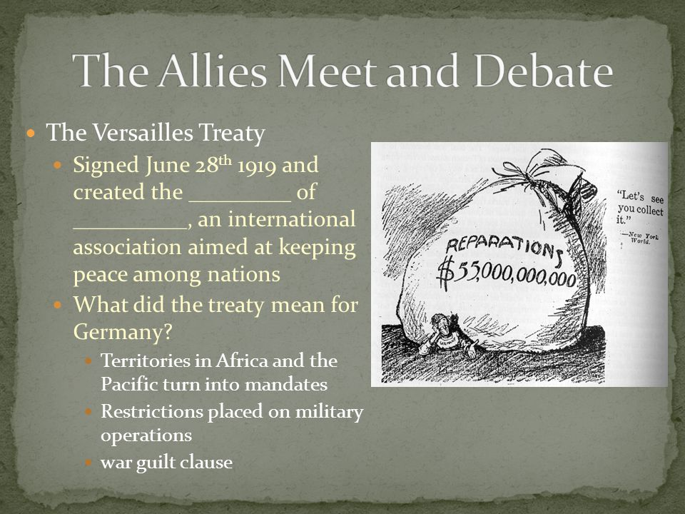 The Versailles Treaty Signed June 28 th 1919 and created the _________ of __________, an international association aimed at keeping peace among nation