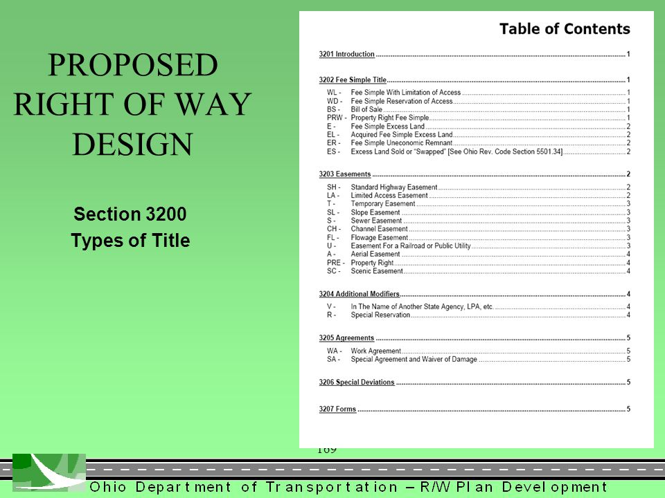 169 Section 3200 Types of Title PROPOSED RIGHT OF WAY DESIGN