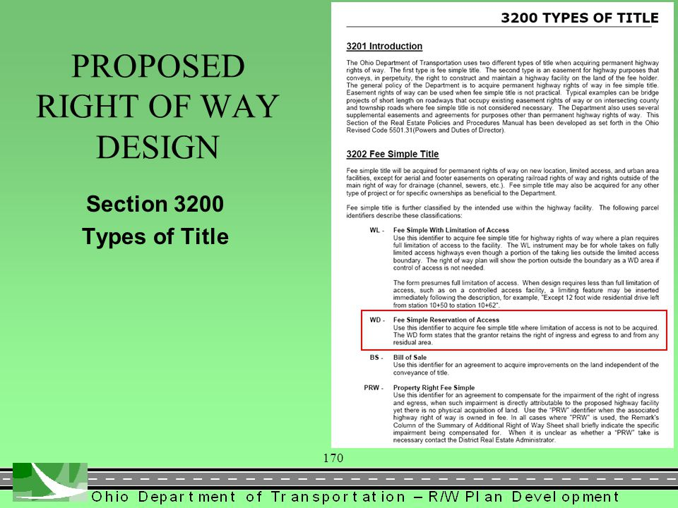 170 Section 3200 Types of Title PROPOSED RIGHT OF WAY DESIGN