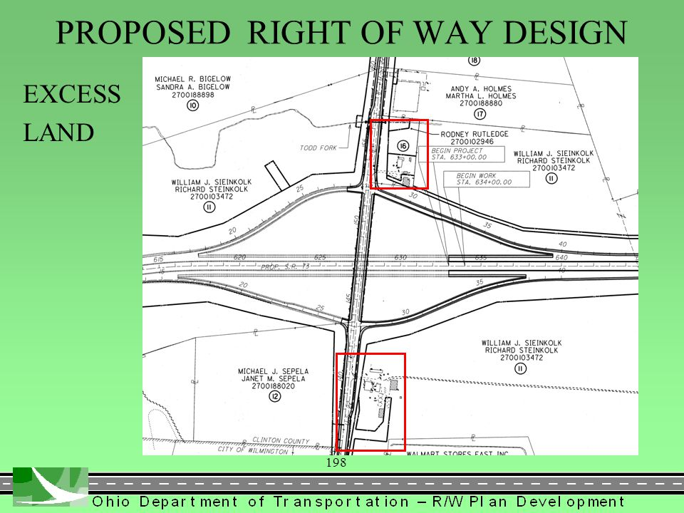 198 PROPOSED RIGHT OF WAY DESIGN EXCESS LAND
