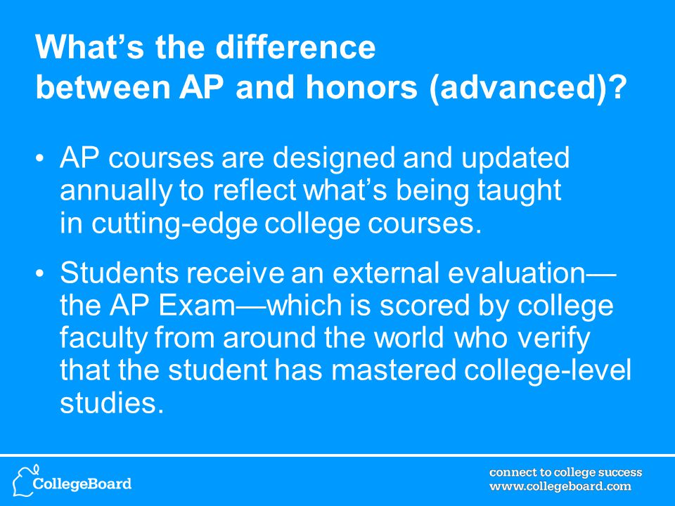 What's the difference between AP and honors (advanced).