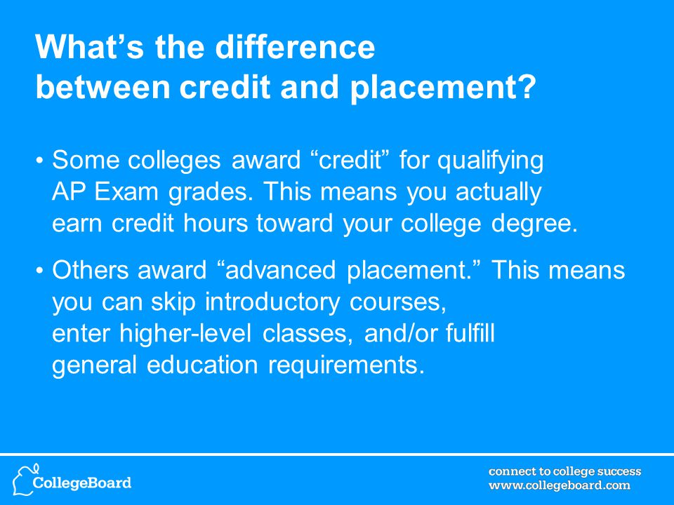 What's the difference between credit and placement.