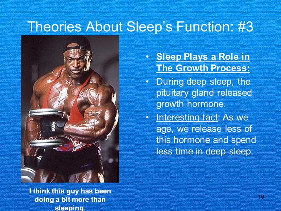 10 Theories About Sleep's Function: #3 Sleep Plays a Role in The Growth Process: During deep sleep, the pituitary gland released growth hormone. Inter