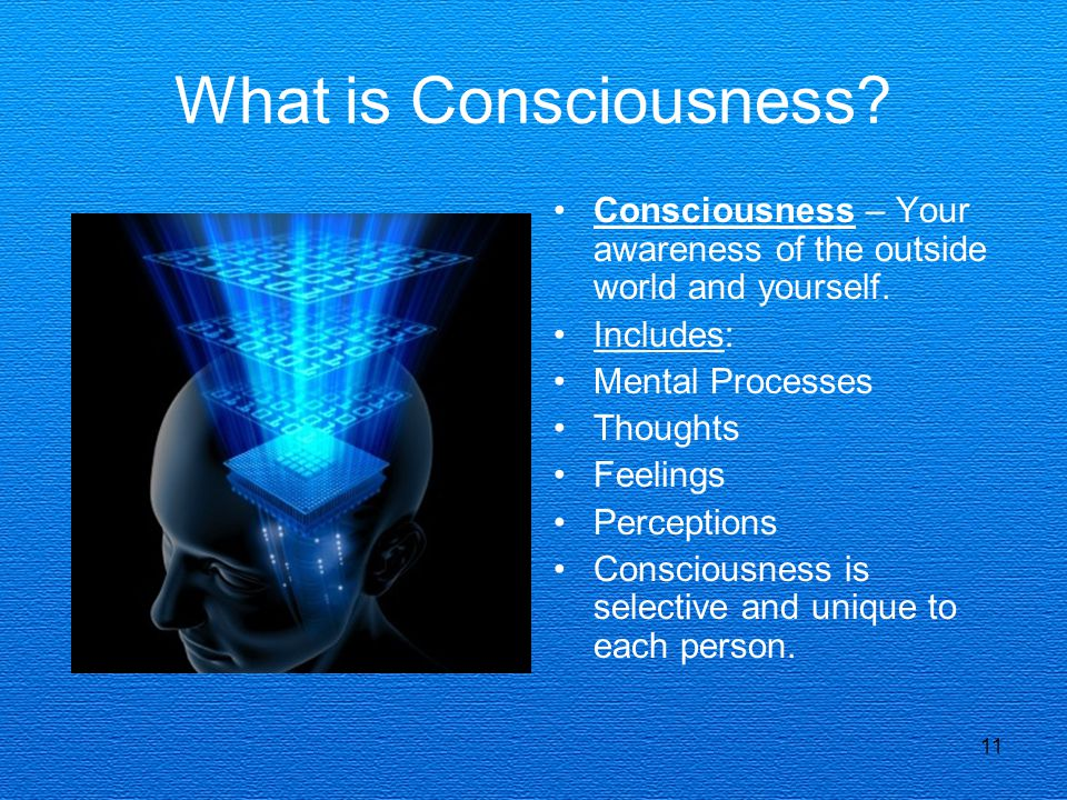 11 What is Consciousness? Consciousness – Your awareness of the outside world and yourself. Includes: Mental Processes Thoughts Feelings Perceptions C