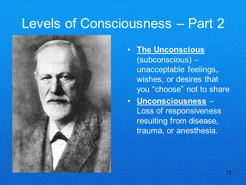 13 Levels of Consciousness – Part 2 The Unconscious (subconscious) – unacceptable feelings, wishes, or desires that you choose not to share Unconsciousness – Loss of responsiveness resulting from disease, trauma, or anesthesia.