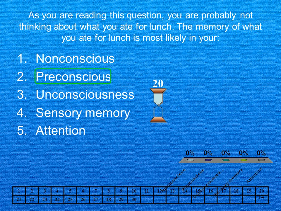 14 As you are reading this question, you are probably not thinking about what you ate for lunch.