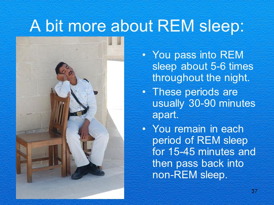 37 A bit more about REM sleep: You pass into REM sleep about 5-6 times throughout the night. These periods are usually 30-90 minutes apart. You remain