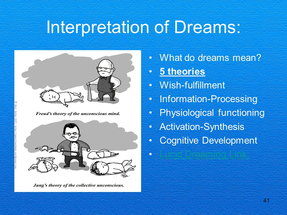 41 Interpretation of Dreams: What do dreams mean? 5 theories Wish-fulfillment Information-Processing Physiological functioning Activation-Synthesis Co