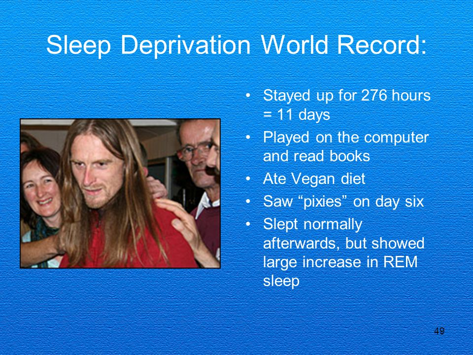49 Sleep Deprivation World Record: Stayed up for 276 hours = 11 days Played on the computer and read books Ate Vegan diet Saw pixies on day six Slept normally afterwards, but showed large increase in REM sleep
