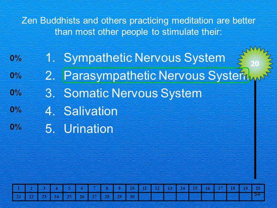 54 Zen Buddhists and others practicing meditation are better than most other people to stimulate their: 1.Sympathetic Nervous System 2.Parasympathetic Nervous System 3.Somatic Nervous System 4.Salivation 5.Urination 20 1234567891011121314151617181920 21222324252627282930