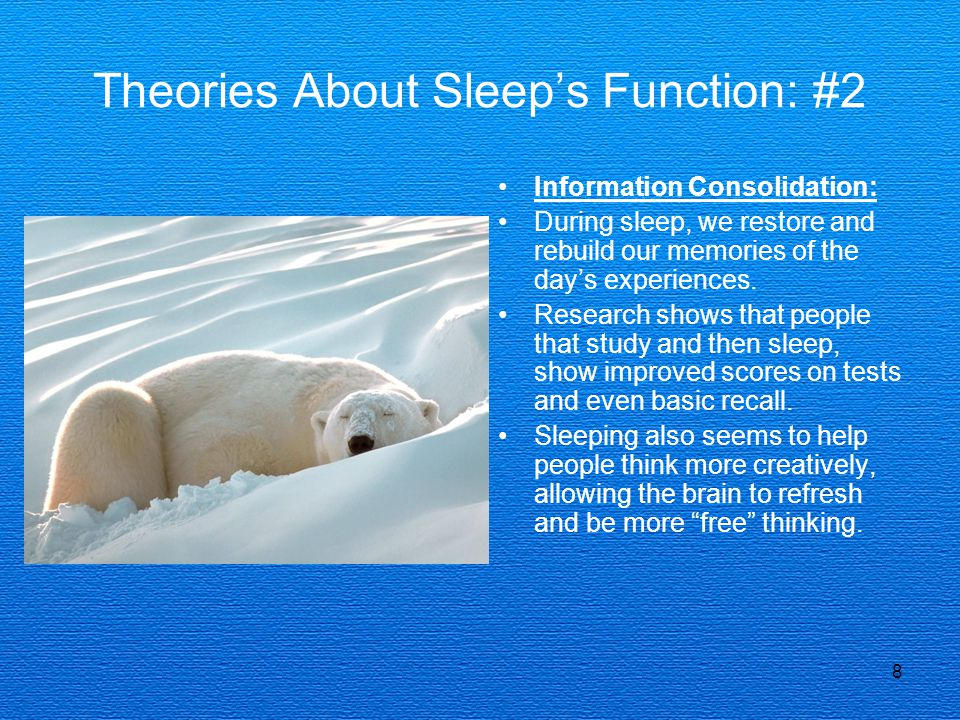 8 Theories About Sleep's Function: #2 Information Consolidation: During sleep, we restore and rebuild our memories of the day's experiences. Research
