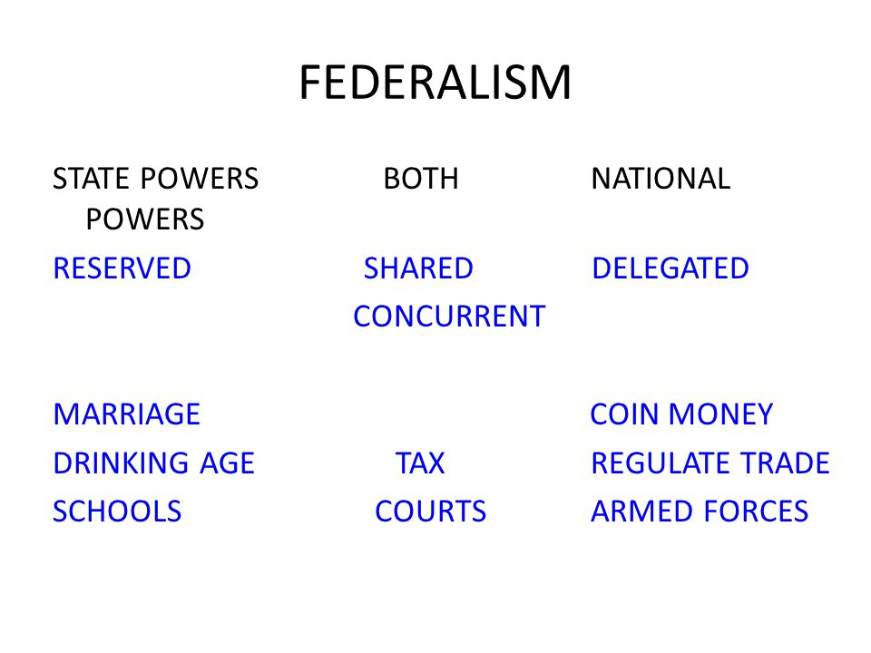 FEDERALISM STATE POWERS BOTH NATIONAL POWERS RESERVED SHARED DELEGATED CONCURRENT MARRIAGE COIN MONEY DRINKING AGE TAX REGULATE TRADE SCHOOLS COURTS ARMED FORCES
