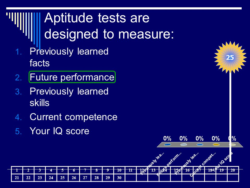 Aptitude tests are designed to measure: 1. Previously learned facts 2. Future performance 3. Previously learned skills 4. Current competence 5. Your I