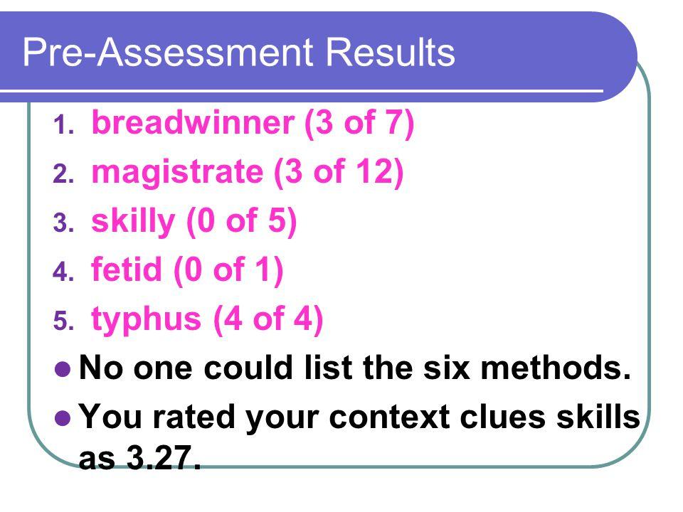 Pre-Assessment Results 1. breadwinner (3 of 7) 2.