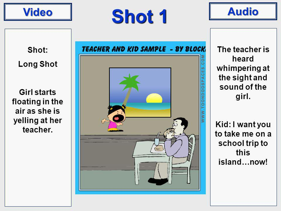 Video Audio Shot 1 Shot: Long Shot Girl starts floating in the air as she is yelling at her teacher. The teacher is heard whimpering at the sight and