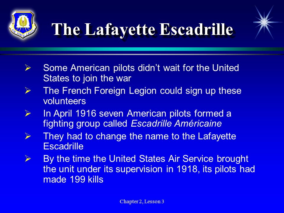 The Lafayette Escadrille Chapter 2, Lesson 3
