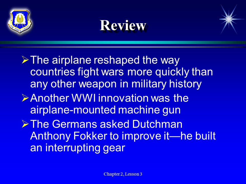ReviewReview  During World War I, aircraft had important functions—from doing aerial reconnaissance to shooting down enemy aircraft  Four American pilots who made significant contributions in World War I were Raoul Lufbery, Eddie Rickenbacker, Frank Luke, and Eugene Bullard  While the United States never built more than a handful of airplanes during the war years, it did provide considerable manpower in the air