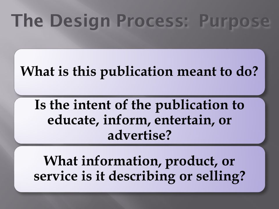 The Design Process: Purpose What is this publication meant to do? Is the intent of the publication to educate, inform, entertain, or advertise? What i