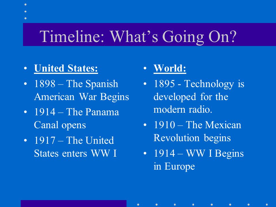 Timeline: What's Going On? United States: 1898 – The Spanish American War Begins 1914 – The Panama Canal opens 1917 – The United States enters WW I Wo