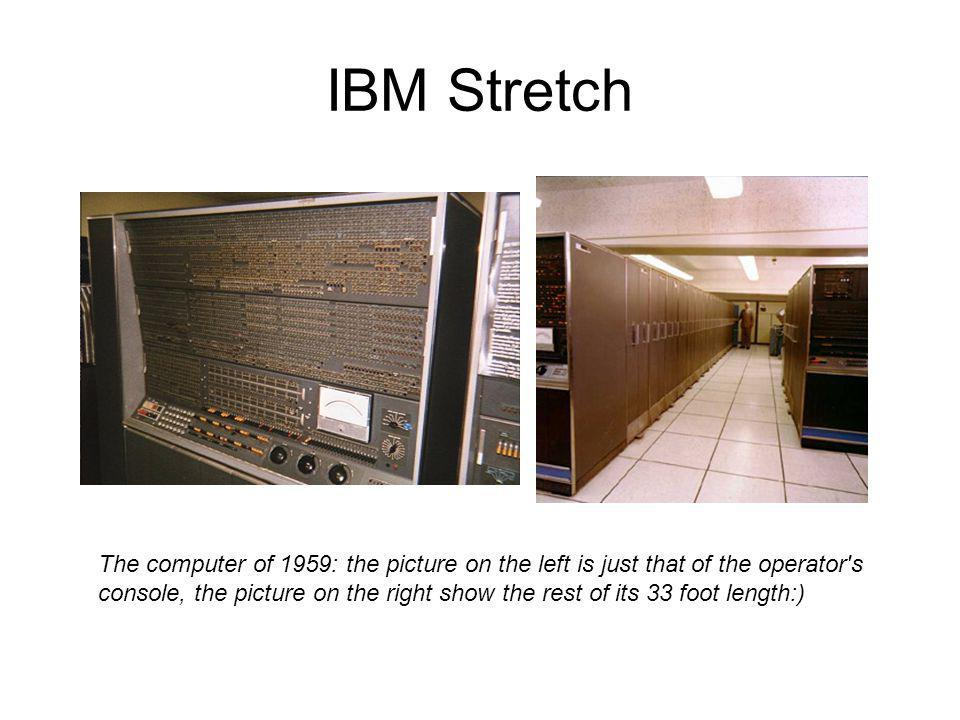 IBM Stretch The computer of 1959: the picture on the left is just that of the operator's console, the picture on the right show the rest of its 33 foo