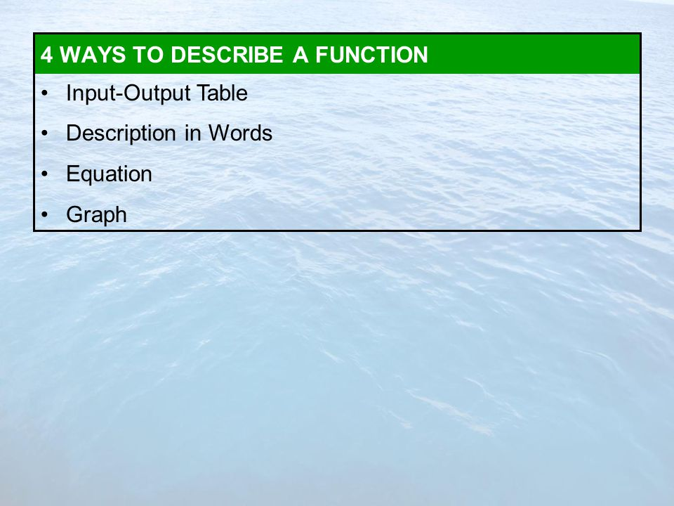 Input-Output Table Description in Words Equation Graph 4 WAYS TO DESCRIBE A FUNCTION