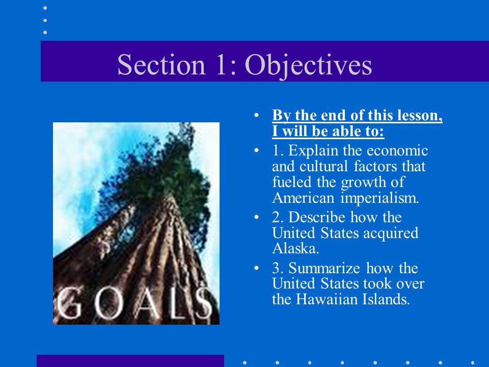 Section 1: Objectives By the end of this lesson, I will be able to: 1. Explain the economic and cultural factors that fueled the growth of American im