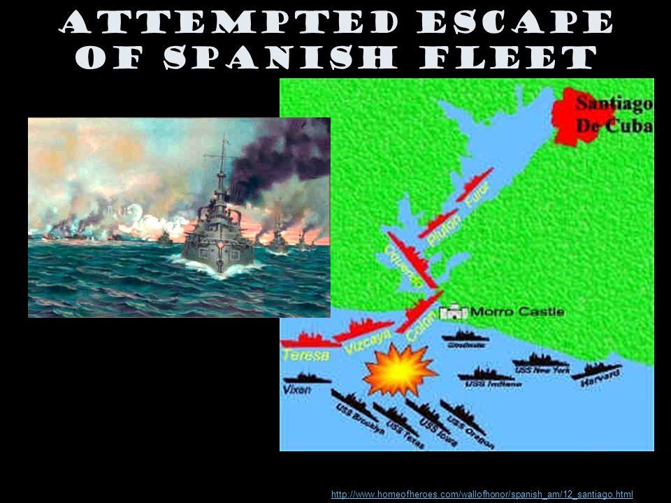 Attempted Escape of Spanish Fleet http://www.homeofheroes.com/wallofhonor/spanish_am/12_santiago.html