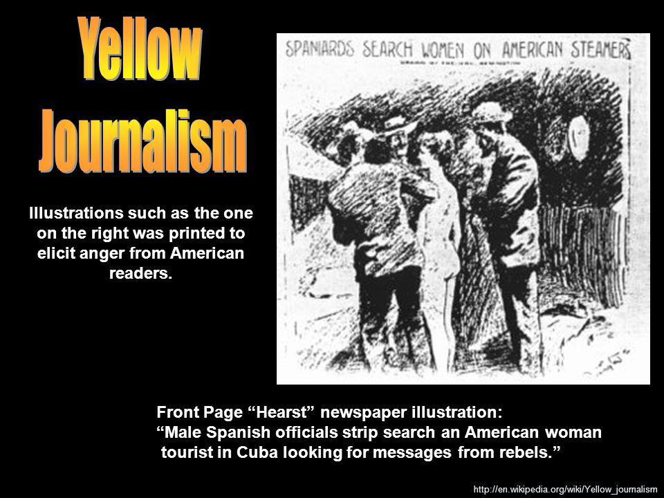 """Front Page """"Hearst"""" newspaper illustration: """"Male Spanish officials strip search an American woman tourist in Cuba looking for messages from rebels."""""""