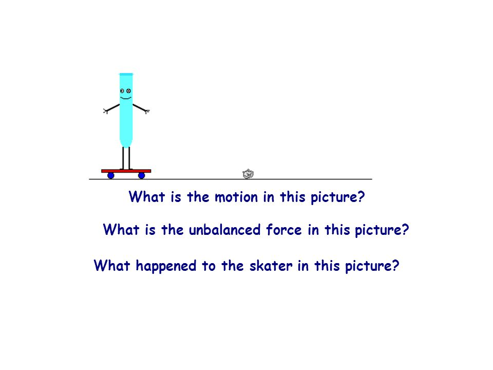 What is the motion in this picture? What is the unbalanced force in this picture? What happened to the skater in this picture?