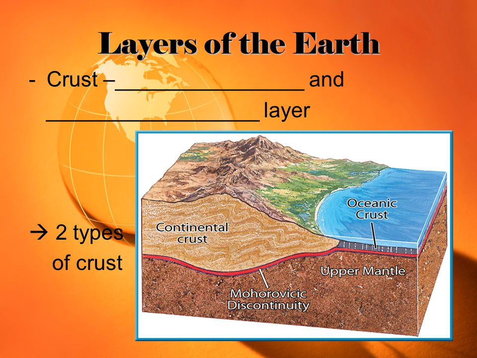 Layers of the Earth -Crust –________________ and __________________ layer  2 types of crust