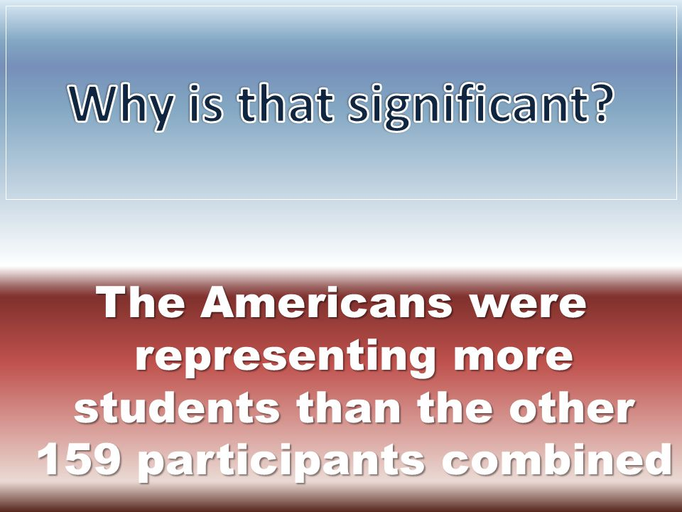 The Americans were representing more students than the other 159 participants combined