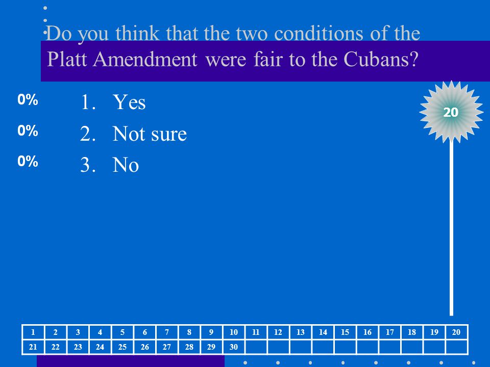 Do you think that the two conditions of the Platt Amendment were fair to the Cubans? 1.Yes 2.Not sure 3.No 20 1234567891011121314151617181920 21222324