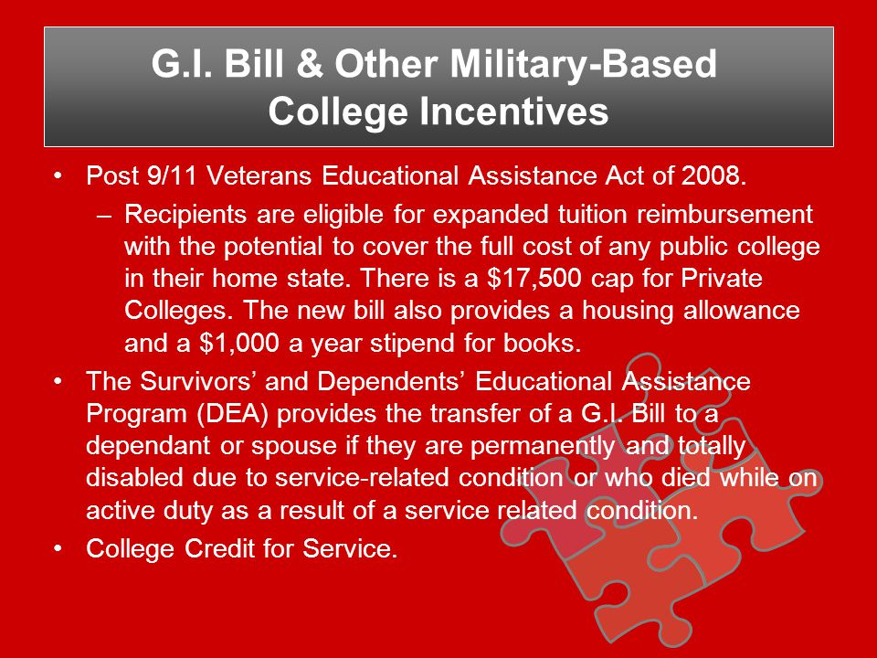Post 9/11 Veterans Educational Assistance Act of 2008.