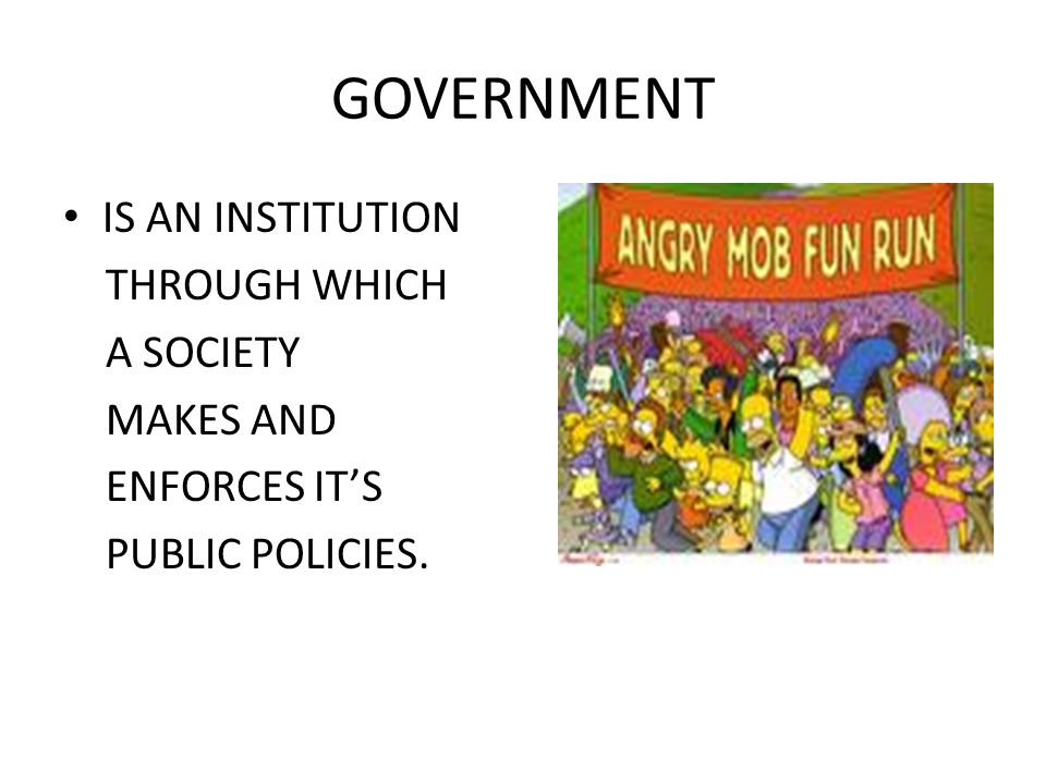 GOVERNMENT IS AN INSTITUTION THROUGH WHICH A SOCIETY MAKES AND ENFORCES IT'S PUBLIC POLICIES.