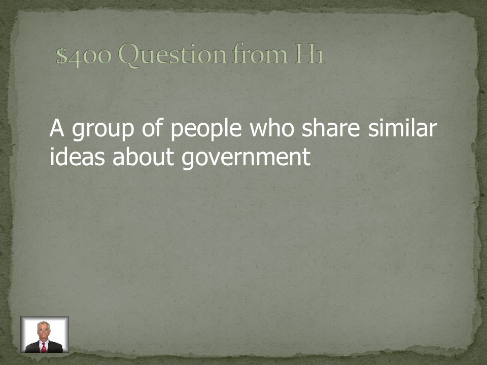A group of people who share similar ideas about government