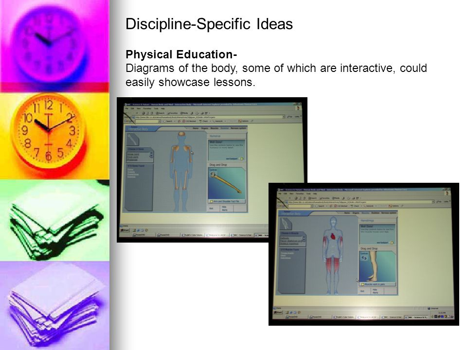 Discipline-Specific Ideas Physical Education- Diagrams of the body, some of which are interactive, could easily showcase lessons.