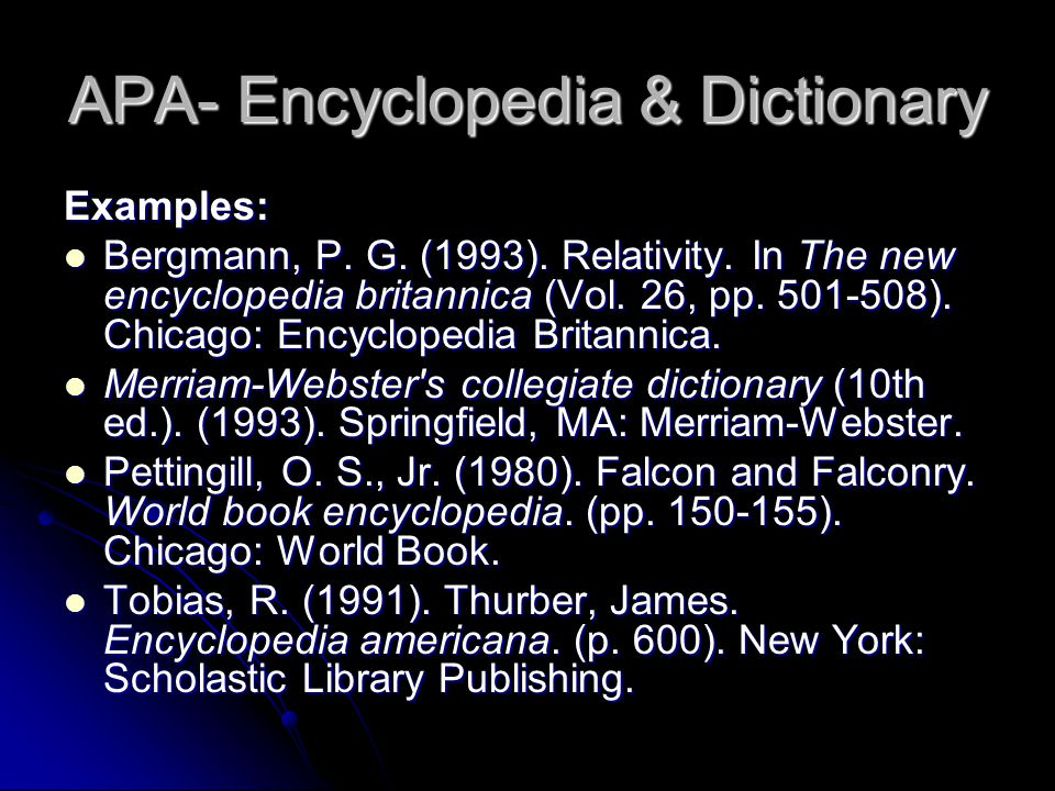 APA- Encyclopedia & Dictionary Examples: Bergmann, P.