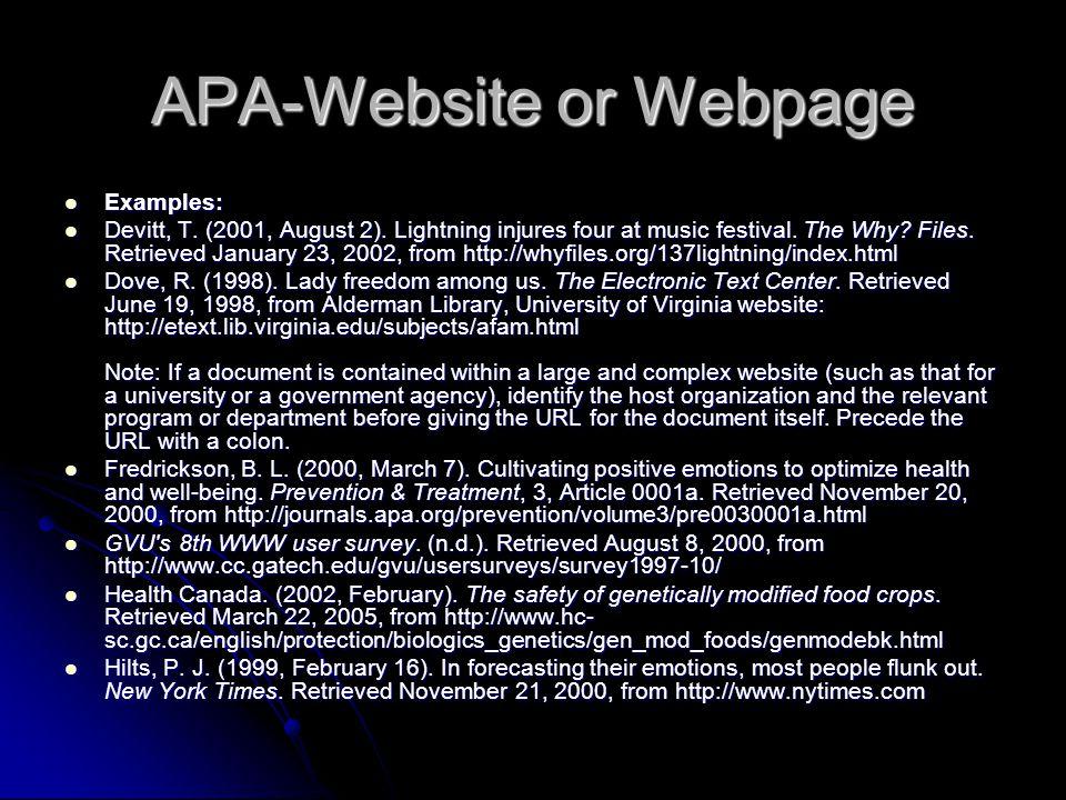 APA-Website or Webpage Examples: Examples: Devitt, T.