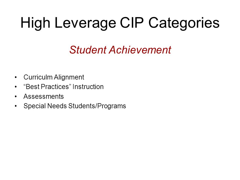High Leverage CIP Categories Student Achievement Curriculm Alignment Best Practices Instruction Assessments Special Needs Students/Programs